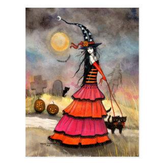 Een heks van de Wandeling van Halloween en een Briefkaart