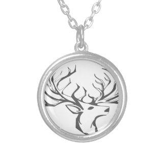 Een hertenhoofd zilver vergulden ketting