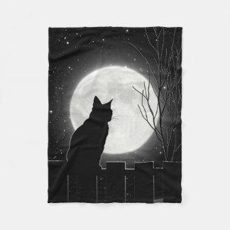 Een het rusten Zwarte kat en een volle maan, de Fleece Deken