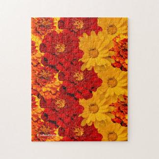 Een hutspot van Rode Gele en Oranje Goudsbloemen Legpuzzel