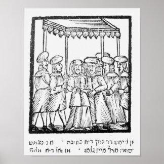 Een illustratie van een Joods huwelijk Poster