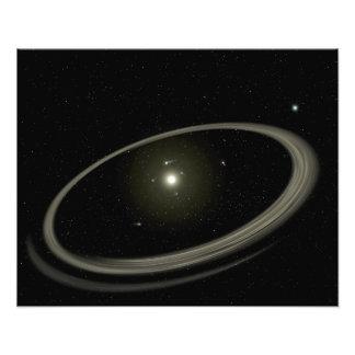 Een jonge die ster door full-sized planeten wordt foto afdruk