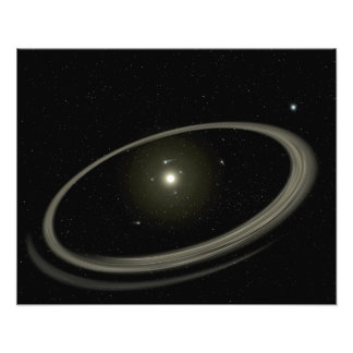 Een jonge die ster door full-sized planeten wordt fotoafdruk