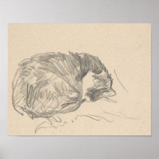 Een kat krulde omhoog, Slapend door Edouard Manet. Poster