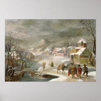 Een landschap van de Winter met Reizigers op een W Poster