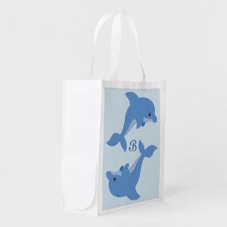Een leuke Gelukkige Dolfijn Herbruikbare Boodschappentas