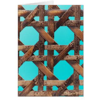 Een macrofoto van oud houten mandewerk briefkaarten 0