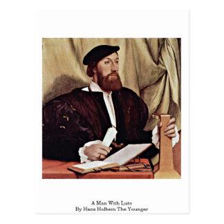 Een man met Luit door Hans Holbein Jonger Briefkaart