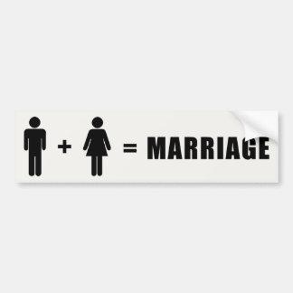 Één Man plus Één Vrouw evenaart Huwelijk Bumpersticker