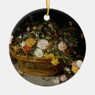 Een mand van Bloemen - Jan Brueghel Jonger Rond Keramisch Ornament