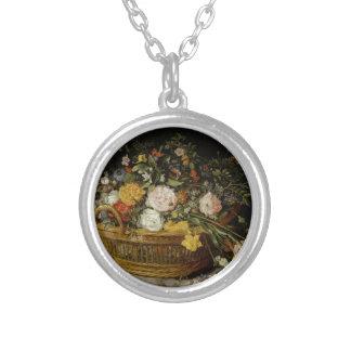 Een mand van Bloemen - Jan Brueghel Jonger Zilver Vergulden Ketting