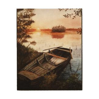 Een meer bij Zonsondergang Afdrukken Op Hout
