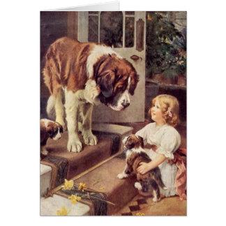 Een meisje en Haar Honden van de Sint-bernard, Kaart