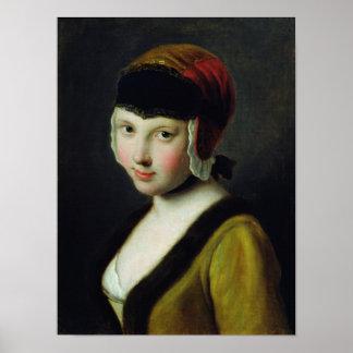 Een meisje met een zwart masker poster