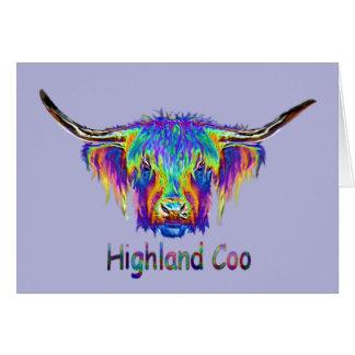 Een mooie kleurrijke koe wenskaart