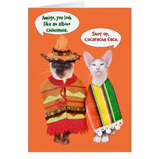 Een norse Cinco DE Mayo van Katten Wenskaart