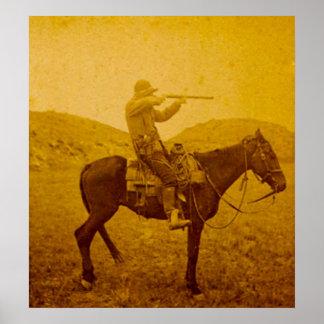 Één Ontsproten op Horseback Vintage Sepia Poster