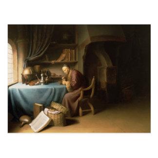 Een oud Man die zijn Pijp in een Studie aansteken Briefkaart