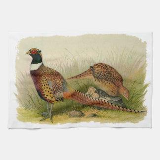Een paar necked fazanten van de Ring op een Theedoek