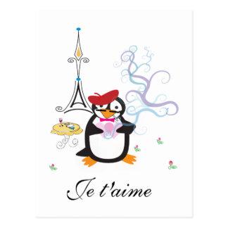 Een pinguïn in het Briefkaart van Parijs