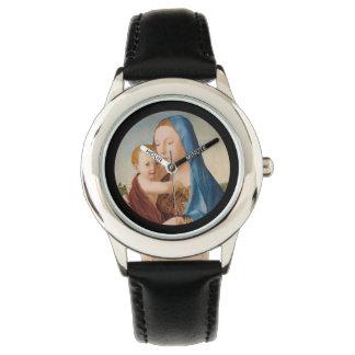 Een portret van Mary en Baby Jesus Horloge