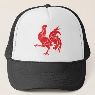 Een rode Haan Trucker Pet