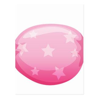 een roze snoep briefkaart