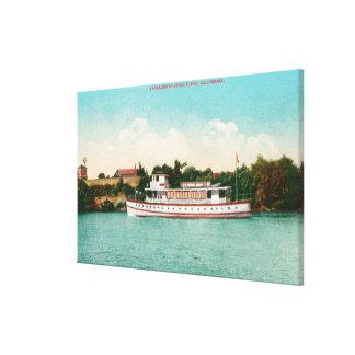 Een scène van de Rivier van Sacramento met een Riv Canvas Afdrukken