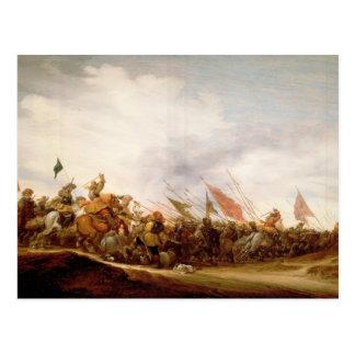 Een scène van de Slag, 1653 Briefkaart
