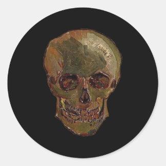 Een schedel door Vincent van Gogh Ronde Sticker