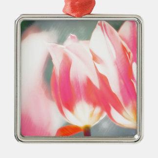 Een schets van Duo Tulipa Zilverkleurig Vierkant Ornament