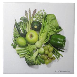 Een selectie van groene vruchten & groenten keramisch tegeltje