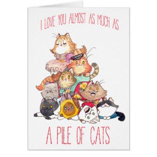 Een stapel van kattenvalentijnskaart wenskaart