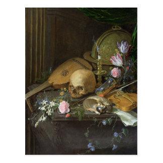 Een stilleven Vanitas met een Nautilus en een Luit Briefkaart