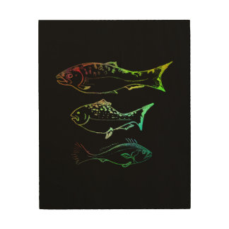 een studie in vissen hout afdruk