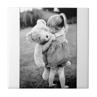 Een teddybeer zo Groot zoals me! Tegeltje Vierkant Small
