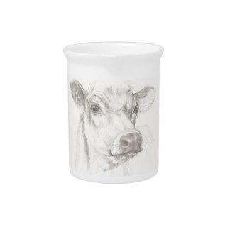 Een tekening van een jonge koe pitcher