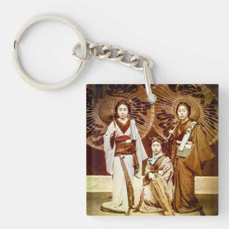 Een trio van Japanse Geisha in de Oude Wijnoogst Sleutelhanger