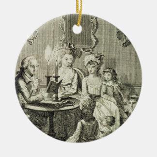 Een vader die aan zijn Familie door Kaarslicht Rond Keramisch Ornament