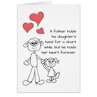 Een vader houdt de Hand van Zijn Dochter Wenskaart