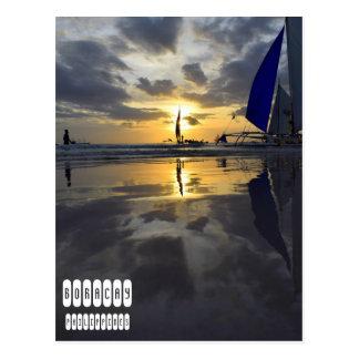 Één van Vriendelijke Zonsondergang Boracay Briefkaart