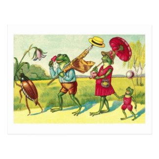 Een vintage openbare domeinillustratie van kikkers briefkaart