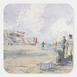 Een vliegtuig die, 1913 opstijgen vierkant stickers
