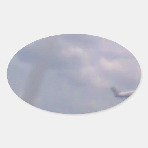 Een vliegtuig ovaalvormige stickers