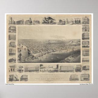 Een vogel-Oog Uitzicht Sacramento, 1857 Poster
