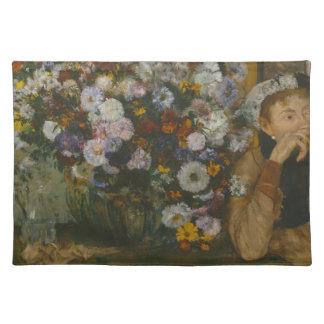 Een vrouw Gezet naast een Vaas van Bloemen Placemat