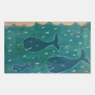 Een walvis van een het Schilderen van het Verhaal Rechthoek Stickers