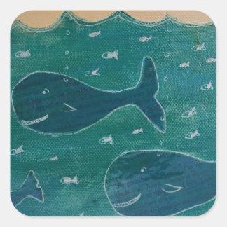 Een walvis van een het Schilderen van het Verhaal Vierkante Sticker