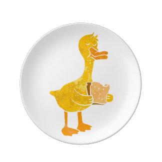 eend die brood eten porseleinen bordje