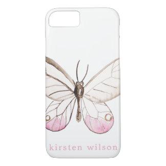 Eenvoudig bloos het Vlinder Gepersonaliseerde iPhone 8/7 Hoesje